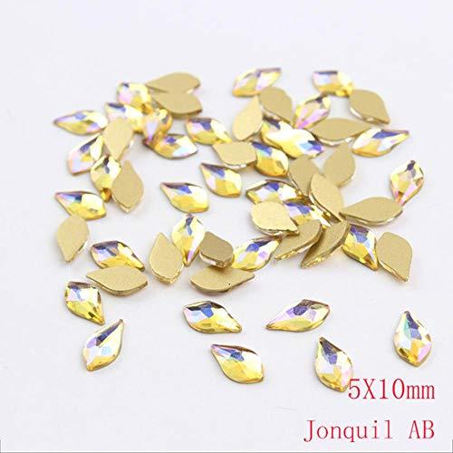 Lot de 100 perles en forme de poire avec strass en forme de poire et strass dorés à fond plat avec pierre 3D à breloques pour ongles, Jonquil AB, 5x10mm