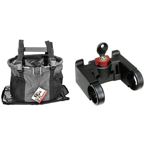 KLICKfix Hundekorb Doggy, grau/schwarz, 0302GR & Klickfix Lenker Adapter