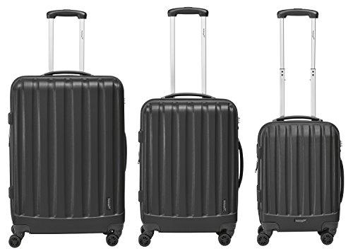 Packenger Kofferset - Velvet - 3-teilig (M, L & XL), Schwarz, 4 Rollen, Koffer mit TSA- Schloss und Erweiterungsfach, Hartschalenkoffer (ABS)