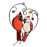 MasBekTe Cardinal Bird Window Pendant Stained Glass Window Ornament Bird Stained Ornament for Home Window (B)