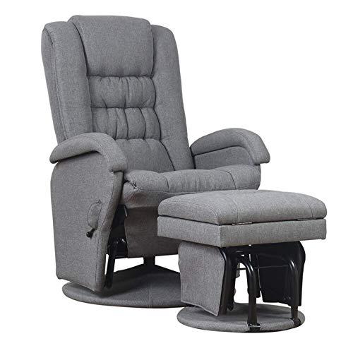 Sillón reclinable de hierro con un taburete de almacenamiento abierto para sala de estar, dormitorio y muebles