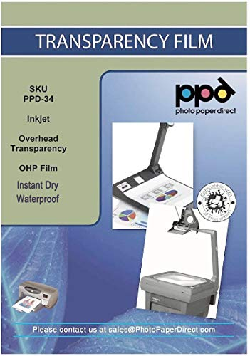 PPD Sparpack 50 x A4 Inkjet Transparentfolie - OHP PREMIUM Overheadfolie Für Tintenstrahldrucker Ohne Sensorstreifen, Neue Mikroporöse Beschichtung Für Schnelle Trockung und Vollfarbige Drucke , DIN A4 x 50 Blatt PPD34-50