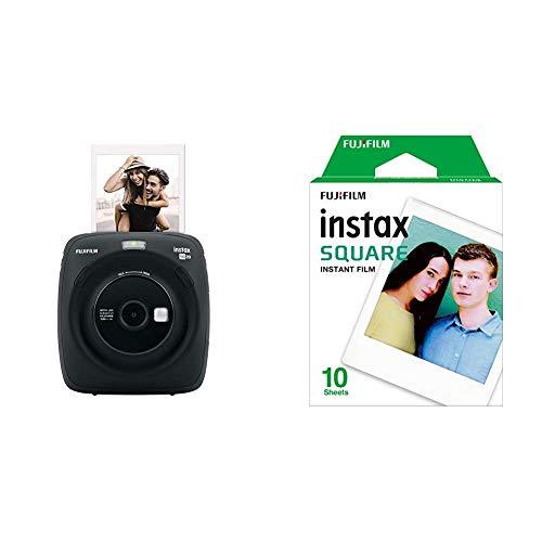 Fujifilm Instax SQUARE SQ 20 Hybride Sofortbildkamera, schwarz &  Instax Square WW 1 Film