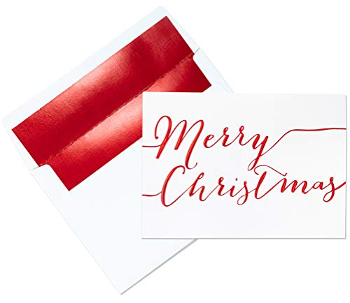 Premium Christmas Cards - 20 Pack - Traditional'Merry Christmas' in Red Embossed Foil on White Linen Texture Cards Blank Inside - 20 Holiday Cards and Red Foil Lined Envelopes