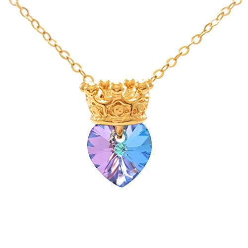 Princesa Rapunzel – Collar de Princesa Corona con Corazón Swarovski Violeta – Princess Crown Necklace…