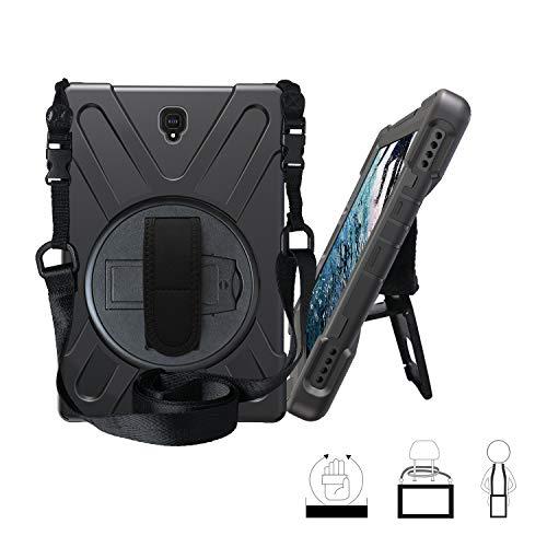 Funda Galaxy Tab S4 10.5, Híbrido Tres Capas Funda Carcasa Protector con Correa de Bandolera y Mano, 360 Rotación Kickstand para Samsung Galaxy Tab S4 10.5 Inch 2018 SM-T830 / T835 - Negro
