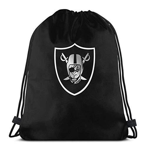 IUBBKI Print Drawstring Backpack,Chucky'S Back Oakland Raider,String Bag Sackpack Cinch Water Resistant Nylon Beach Bag for Gym Shopping Sport Yoga Christmas Stocking Stuffer