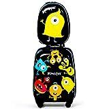 COSTWAY 2tlg Kinderkoffer + Rucksack, Kindertrolley aus Kunststoff, Kindergepäck, Kinder Kofferset Handgepäck Reisegepäck Hartschalenkoffer für Jungen und Mädchen (Schwarz, 12'+16')