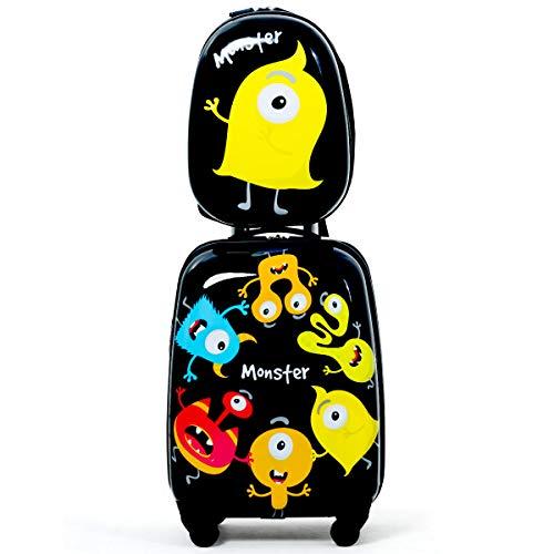 """COSTWAY 2tlg Kinderkoffer + Rucksack, Kindertrolley aus Kunststoff, Kindergepäck, Kinder Kofferset Handgepäck Reisegepäck Hartschalenkoffer für Jungen und Mädchen (Schwarz, 12\""""+16\"""")"""
