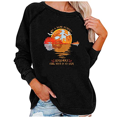 Dubras Halloween Crewneck Sweatshirt for Women,On A Dark Desert Highway Cool Wind In My Hair Shirt Letter Print Pullover Tops