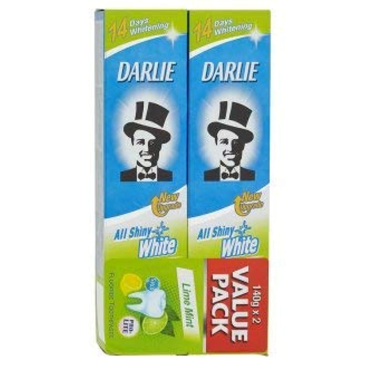 挽くセブン外交問題DARLIE 2つの電力可溶性汚れや緩やかな歯のホワイトニングを提供する新しいデュアルホワイトニングシステム - 全光沢のある白ライムミント140グラム値パックX2を歯磨き粉