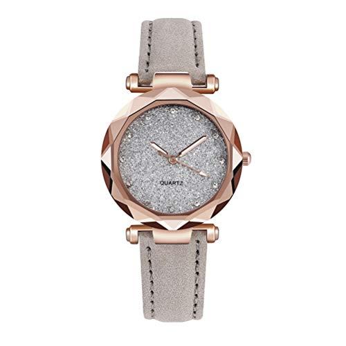 OUTEYE Reloj Ligero de Moda para Mujer Reloj de Cuarzo de Cuero Informal e Impermeable Reloj analógico para niñas