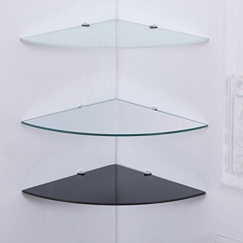 Euro Tische Glas Wandregal Eckregal - Glasregal mit 6mm ESG Sicherheitsglas - perfekt geeignet als Badablage/Glasablage für Badezimmer - Verschiedene Größen (35 x 35 cm, Schwarz)