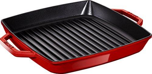 Staub 40511-784-0 grillpan, rechthoekig met twee handgrepen, 33 cm, gietijzer, kersenrood