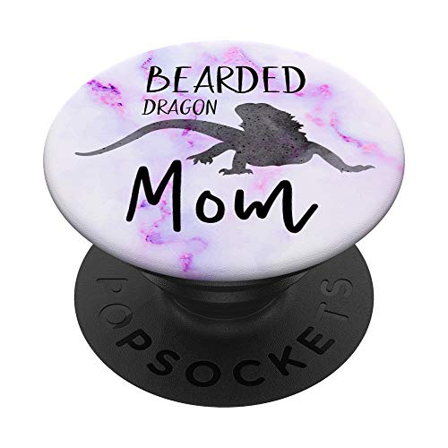 Bearded Dragon Mom Reptile Lizard Pink Purple White Gift PopSockets PopGrip: Swappable Grip for Phones & Tablets