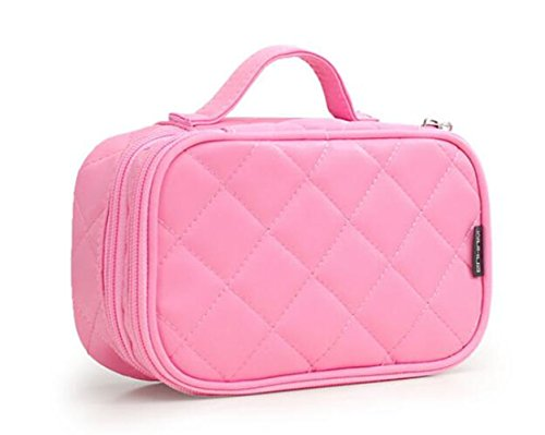 Kosmetiktasche, ONEGenug MakeUp Tasche, Schminktasche Kosmetikbeutel 20 * 12 * 8 cm Doppelschicht mit Spiegel für Damen pink