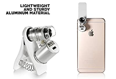 60X Zoom LED Clip-On Microscope Magnifier Micro Lens with Universal Clamp for iPhone Samsung Galaxy Android LG HTC Tablet (AU009)(1)