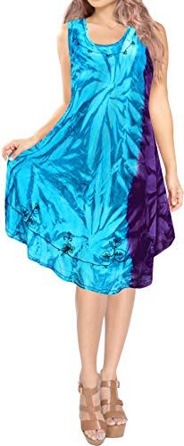 LA LEELA 3 en 1 señoras Superiores Tanque rayón Suave Tinte Bordado Partido Vestido Verano Traje baño Baile Ocasional sin Mangas la Ropa Playa Encubrir Mujeres más tamaño Vestido Noche túnica Azul