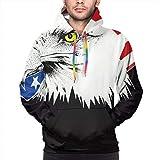 American Bald Eagle Sudaderas con Capucha para Hombres Sudaderas con Capucha de Manga Larga Abrigo con Bolsillo