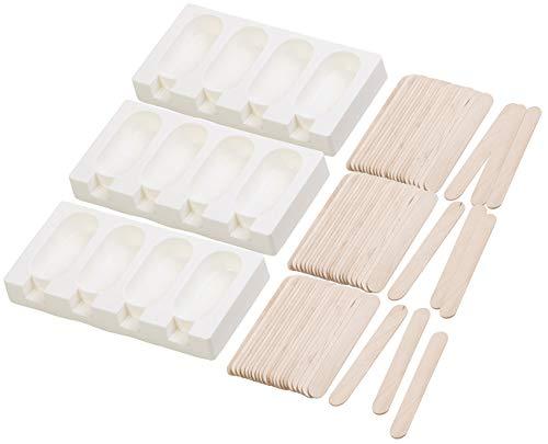 Rosenstein & Söhne Eis Silikonform: 3 Silikon-Formen für 12 Eis am Stiel, je 70 ml, mit 72 Holzstielen (Silikonform Eis am Stiel)