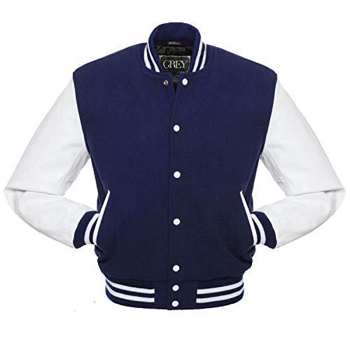 Varsity jacket | Baseball jacket Men | Leterman jacket Men | Men's Leather Jacket | Bomber jacket (Black, XS) (xs, jet black) (NAVY BLUE-WHITE, xl)