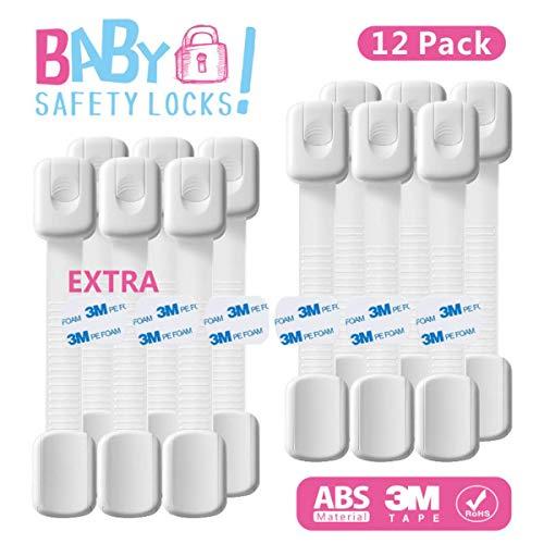 Baby Kindersicherung, kein Bohren Kindersicheres Schrankschloss mit verstellbarem Riemen und Verschluss für Schränke, Schubladen, Geräte, Toilettensitz und Kühlschrank (12 Stück)