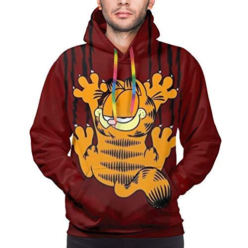 Garfield Cartoon Cat Mens Womens 3D Hoodie Unisex All-Over Printed Lightweight Pullover Hooded Sweatshirt S-3XL. XL Black