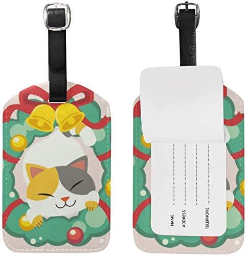 Katze Weihnachtskranz Glockenband Leder Gepäck Gepäck Koffer Tag ID ID Label für Reisen