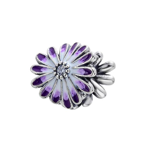 ZHANGCHEN Cuentas de abalorio de Margarita púrpura encantos Originales de Pandora 925 Pulsera de Bricolaje de Plata esterlina joyería de Mujer