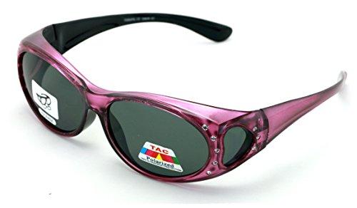 V.W.E. Womens Polarized Fit Over Glasses Sunglasses Rhinestone Rectangular Frame Temple Heart 60mm (Pink)