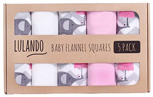 LULANDO Stoffwindeln und Moltontücher 70x80cm (5er Set). Waschbare Windeln und Spucktücher für Ihr Baby. Farbe: Elefanten Pink