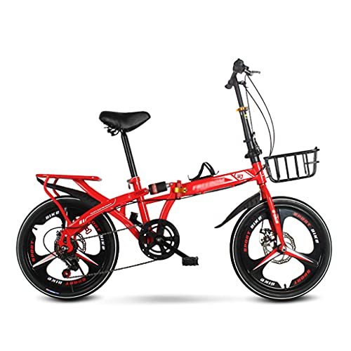 Bicicleta Plegable Ciudad Ligera, Frenos De Disco Doble 7 Velocidades, Bici Plegable Compacta Con Patín Antideslizante Y Neumático Resistente Al Desgaste Para Hombres Mujeres Adolescente(Size:20 inch)