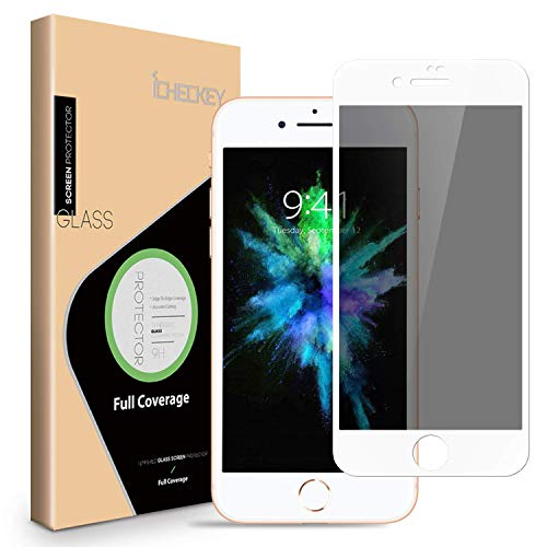 Privacy Screen Protector for iPhone 8 7 6s 6 - ICHECKEY 3D Curved Anti-Spy Anti-Peeping Tempered Glass Screen Cover Shield for iPhone 8 7 6s 6, 4.7 Inch – White