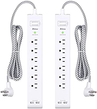 2-Pack Mifaso Power Strip Surge Protector with 6 Outlets 2 USB Ports