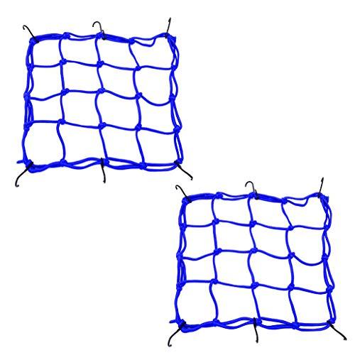 Mantain 2 PCS Cargo Net,11.8 inch x11.8 inch Elastic Rack Storage Net 6 Adjustable Hooks for Bike Bicycle Motorcycle (Blue)