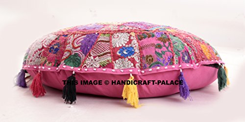 Beautiful Round Indian Patchwork Pouffe,Indian Traditional Home Decorative Handmade Cotton Ottoman Patchwork Foot Stool Floor Cushion,Embroidered Decorative Vintage Cotton 32'' by HANDICRAFT-PALACE