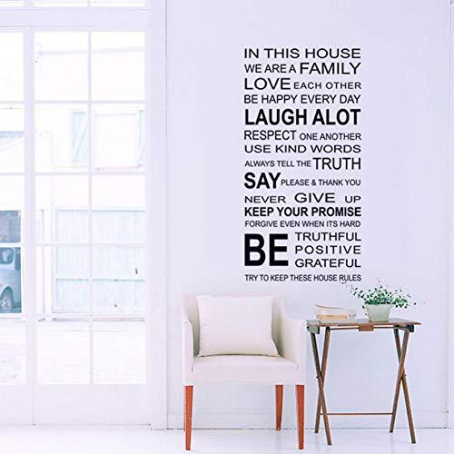 Wandaufkleber Dekorative Aufkleber Wand Dekoration Wandbilder Englisch Sprüche DIY Wandaufkleber Familie Haus Regeln Aufkleber An Der Wand Zimmer Kunst Wohnkultur Aufkleber Tapete Dekoration