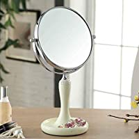 HAIYANG鏡- 両面デスクトップ化粧品樹脂ファッションかわいい携帯用王女のドレッシングミラー50ガラスドリル付きの高精細な鏡の絶妙で美しい360度の回転 (Size : 7 inches)