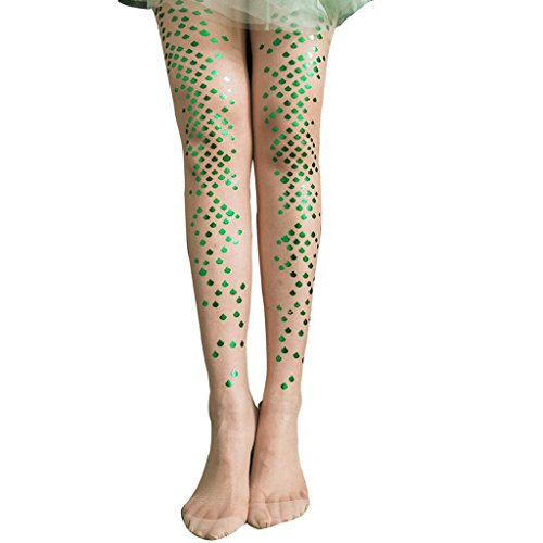 PPGE Frauen Dünne Strümpfe Meerjungfrau Strümpfe Bikini Strumpfhosen, Bodenbildung Socken Gedruckt Tattoo Strümpfe (2 Stück),Green,OneSize