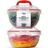 Komax Biokips Large Salad Bowl with Lid | Set of 2 Clear Mixing Bowls 4.2qt | BPA-FREE Plastic Storage Bowls with Locking Lids | Microwave safe, Dishwasher Safe, with Handles | Big Salad Bowls