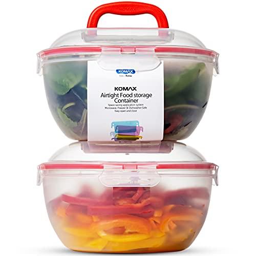 Komax Biokips Large Salad Bowl with Lid   Set of 2 Clear Mixing Bowls 4.2qt   BPA-FREE Plastic Storage Bowls with Locking Lids   Microwave safe, Dishwasher Safe, with Handles   Big Salad Bowls