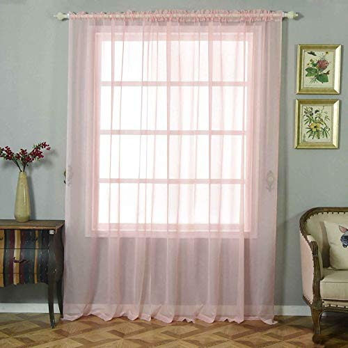 Efavormart 2 Panels Blush Sheer Organza Window Drapery with Rod Pocket Window Treatment Curtain Panels - 52'x 96'