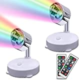 RGB Wireless Spotlight Battery Operated Accent Light Dimmable Uplight Color Changing Mini Spotlight with Remote, Battery Powered Spotlight for Lighting Up Painting Picture Artwork Closet (2 Pack)