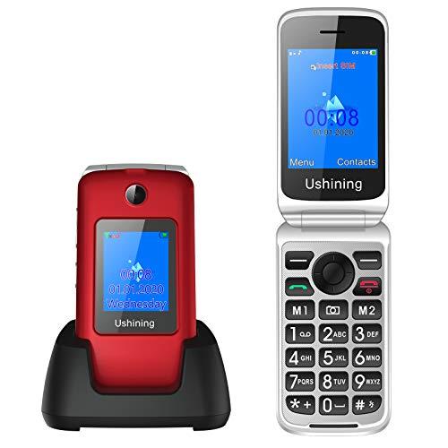 3G Telefono Movil para Mayores,Ukuu 2,8'+1,8' Dual Pantalla Telefonos Móvil con Tapa Teclas Grandes Dual SIM Desbloqueo Alto Volumen 1200mAh y Base Cargadora (Rojo)