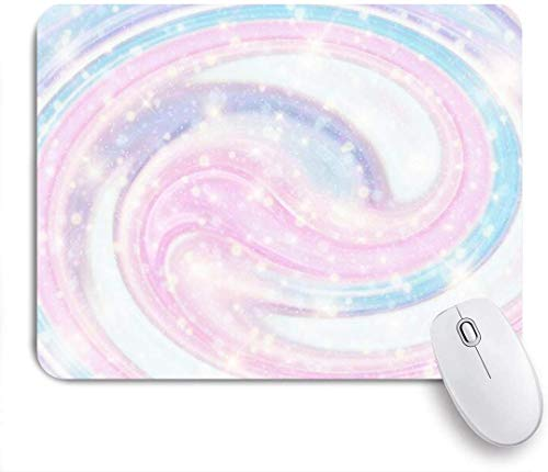 Gaming Mouse Pad rutschfeste Gummibasis, Sky Fantasy Print niedliches Papier violett Regenbogen Pastell Design Marmor abstrakte Texturen, für Computer Laptop Schreibtisch