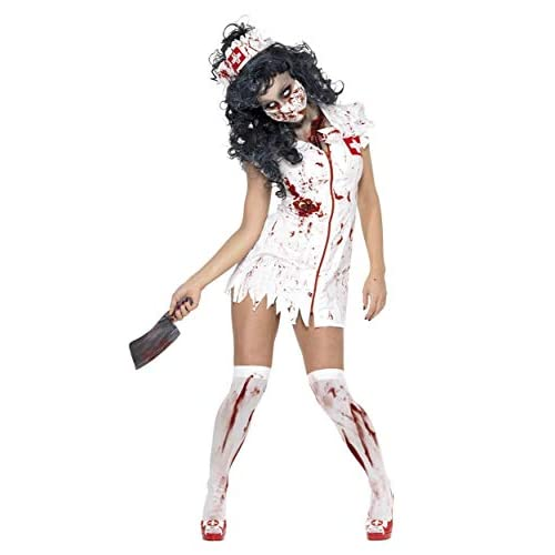 Smiffys Costume Zombie Infermiera, comprende Abito, Maschera e Copricapo
