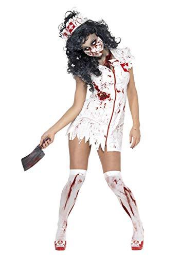 Smiffys- Halloween Disfraz de Enfermera Zombi, con Vestido, mascarilla y Adorno para la Cabeza, Color Blanco, S - EU Tamaño 36-38 (Smiffy