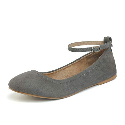 DREAM PAIRS Sole-Fina-Straps Damen Knöchelriemen Ballerinas Flache Schuhe Grau Wildleder Größe 9.5 US / 40.5 EU