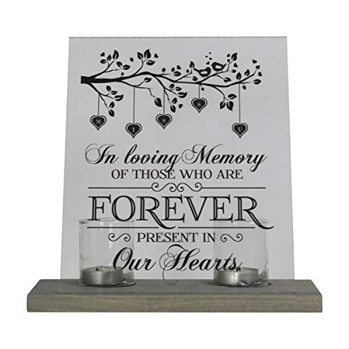 LifeSong Milestones Personalized Memorial Votive Candle Holder with 8x10 Acylic Sign in Remembrance Loss of Loved One with Wooden Base Condolence Bereavement Gift Forever Present