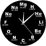 NIUMM Reloj De Pared 1 Pieza Elementos Químicos Reloj De Pared Periódico Símbolos Químicos Biología Reloj De Pared Tiempo Ciencia Profesores Regalo